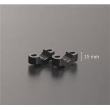 Kit de rehausseurs pour guidon 22 mm en noir: hauteur 25 mm .
