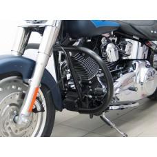 """Softail Harley-Davidson 2007- FLSTN-FLSTF-FLSTC Pare cylinders -version """"round"""" en noir"""