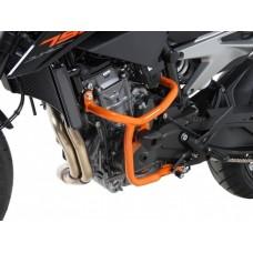 790 Duke KTM 2018- Pare carters gauche et droite en orange avec 2 tampons de protection
