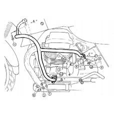 Quota 1000 / Quota 1100 ES Moto Guzzi pare cylindres et pare carter en noir